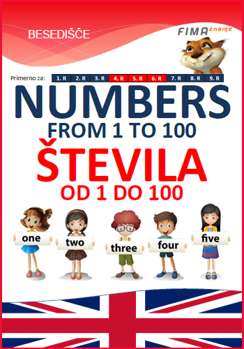NUMBERS FROM 1 TO 100 – Števila od 1 do 100