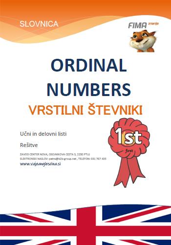 ORDINAL NUMBERS – Vrstilni števniki
